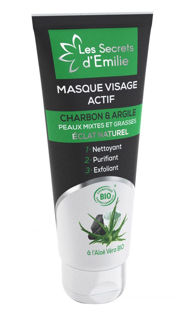 Masque Visage Actif au Charbon végétal, Argile blanche et Aloé Véra BIO Peaux mixtes et grasses, s'utilise en masque ou comme exfoliant