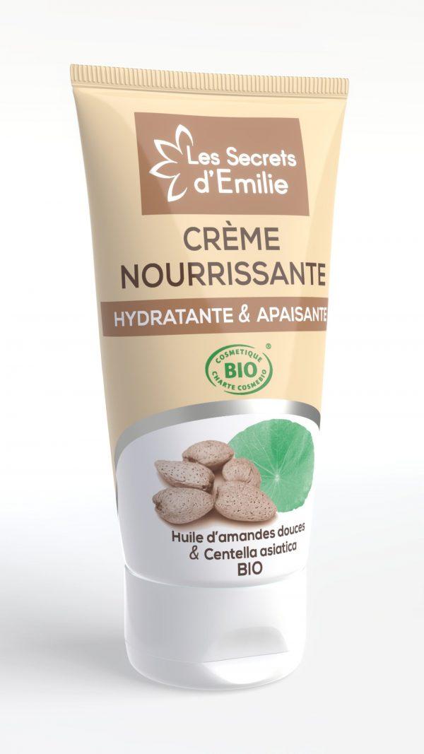 Crème nourrissante, amandes douces et centella aisatica BIO, spéciale peaux sensibles et sèches pour une utilisation quotidienne