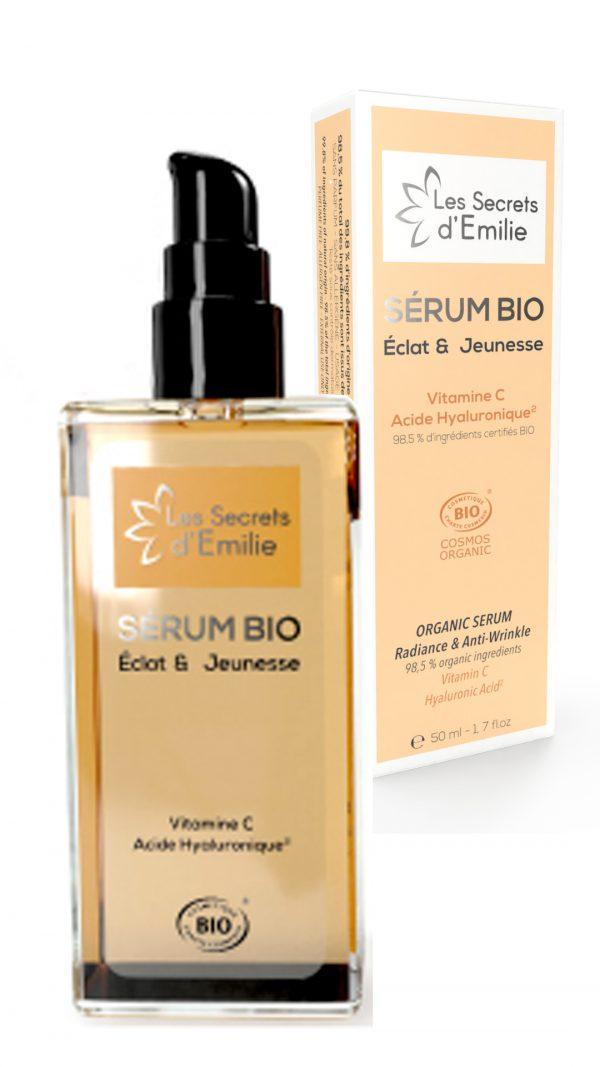 Sérum BIO, éclat & jeunesse, vitamine C et acide hyaluronique, spécial peaux sensibles, normales à sèches pour une utilisation quotidienne